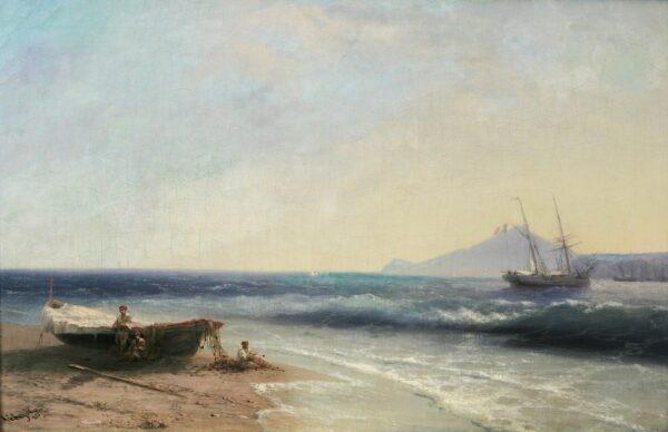 Айвазовский Иван Константинович «Морской пейзаж с парусником» 1893
