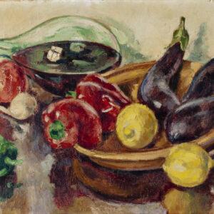 Пожидаев Георгий Анатольевич, Натюрморт с баклажанами, перцами и сосудом с вином, 1961 г.