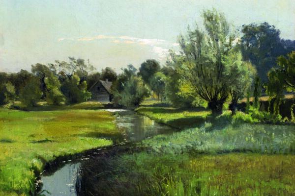 Орловский. Летний пейзаж с рекой.