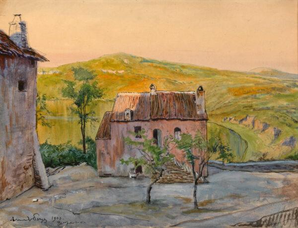 Бенуа Александр «Дом на фоне озера Неми, Гензано, Италия», 1903 г.