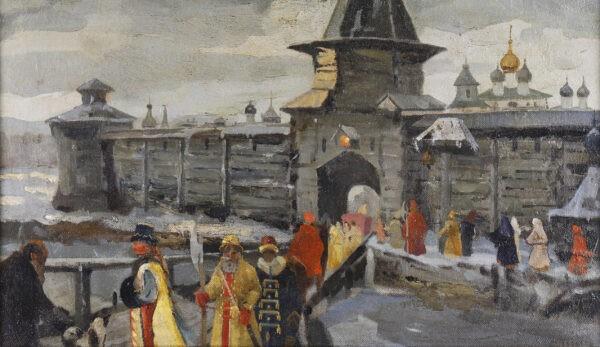 Неизвестный художник «Бояре у входа в Кремль»