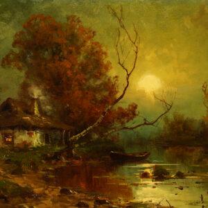 Оболенский Николай, «Закат на болоте»1890-е гг.