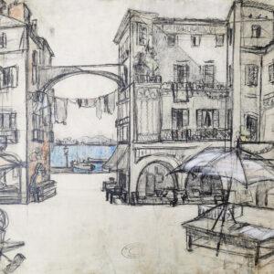 Лапшин Георгий, «Вид на Везувий с площади в Неаполе» 1920-е гг.